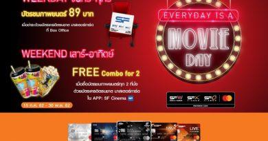 EVERYDAY IS A MOVIE DAY– ลูกค้าบัตรเครดิตธนชาต มาสเตอร์การ์ด รับสิทธิ์สุดพิเศษเมื่อซื้อบัตรชมภาพยนตร์ในเครือเอส เอฟ