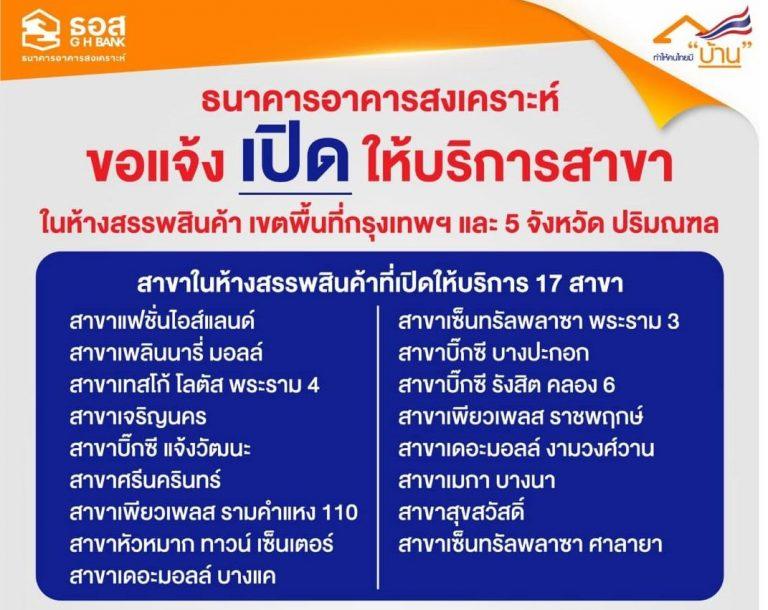 ธอส.เปิดบริการ 17 สาขาในห้างสรรพสินค้า ในกรุงเทพมหานครและ 5 จังหวัดปริมณฑล ตั้งแต่วันพรุ่งนี้(24 มีนาคม 2563)